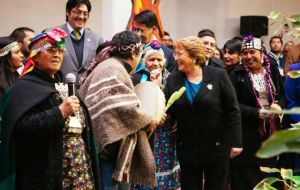 The Chilean president at Government House with leaders of indigenous communities