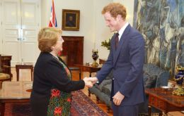 President Michelle Bachelet welcome Prince Harris at the Governement House