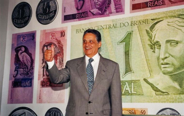 The Real was implemented when former president Fernando Cardoso was Finance minister of the Itamar Franco administration