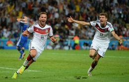 The German team celebrating the score