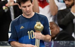 "Blatter admitted to being ""a little bit surprised"" by the Golden Ball award to Lionel Messi"