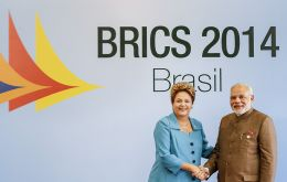 PM Modi and president Dilma Rousseff during the BRICS summit in Fortaleza
