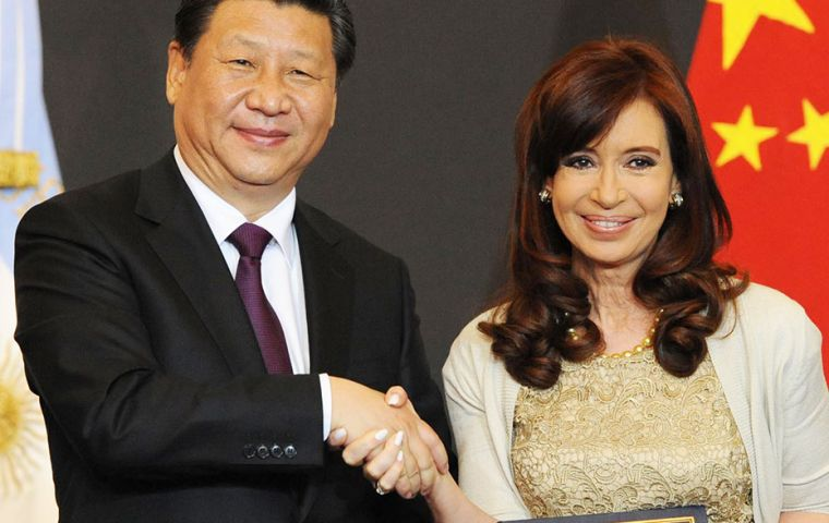 Xi and Cristina Fernandez toast for a 'foundational day' in relations between Argentina and China