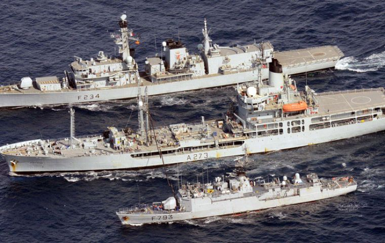 HMS Iron Duke, RFA (top) Black Rover and the French frigate Commandant Blaison in the Gulf of Guinea