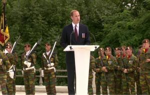 "Speaking to the gathered European leaders, Prince William said: ""We were enemies more than once in the last century and today we are friends and allies""."