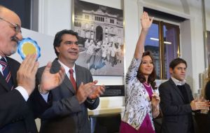 Cristina Fernandez and most of the cabinet during the several announcements made on national television