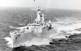 HMS Plymouth was one of the first to arrive to the South Atlantic and later to the Falklands, where she suffered damage during San Carlos landings