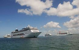 A spectacular sight to be repeated this season, four cruise vessels in Punta del Este