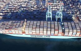 The third vessel in the Triple-E series, Mary Maersk has a nominal capacity of 18,270 TEU, but so far that capacity has not been fully utilized.