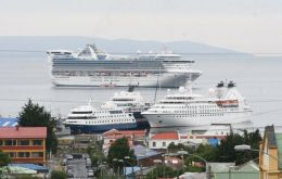 Cruise vessels in Punta Arenas on a busy season day  (Pic LPA)