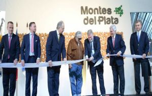 Mujica during the opening of the pulp mill that is the single largest investment in the country's history