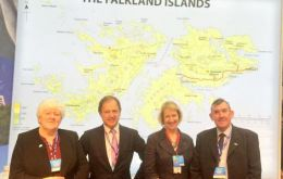 MLA Jan Cheek, Hugo Swire, FIG's representative Sukey Cameron and MLA Ian Hansen at the Falklands stand in the Tories conference in Birmingham