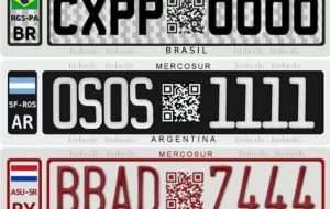 Brazil, Argentina, Paraguay and Uruguay plates