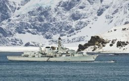 Frigate HMS Iron Duke will be patrolling the area including a call at the Falklands