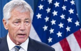 Hagel is on a three-countries six-day visit to South America and on Monday will attend the Americas Defense ministers conference in Peru