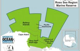 "A joint US-NZ proposal to designate a Ross Sea marine protected area (MPA) of 1.32 million km2 (with 1.25 million km2 as ""no take"") is under consideration"