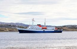 'Ushuaia' in anchored in Stanley. She was the first vessel of the 2014/15 season. 'Sea Adventurer' is scheduled for Wednesday (Pic J. Pompert)