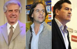 Incumbent Vazquez, and opposition leaders Lacalle Pou and Bordaberry will be deciding who's the next president
