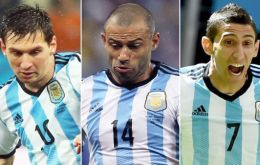 Messi, Mascherano who play for Barcelona and Manchester United Angel di María are in the list