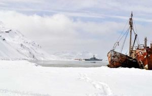 On the second day of their visit the ship's company awoke to find that 12 inches of snow had been dumped overnight