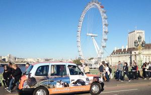 London taxi promotion launches during WTM at the London Eye.