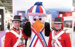 """Stanley"" the Falkland Islands Mascot with friends from Gibraltar"