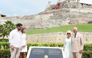 During an official visit last week, Charles unveiled the black marble plaque dedicated to English soldiers, which was later destroyed by a Colombian citizen  (Pic PA)