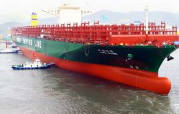 World largest containership (19.000 TEU) belongs to China and was built in Korea