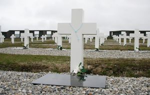 The Darwin Cemetery with the remains of Argentine soldiers fallen during the Falklands conflict of 1982