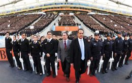 """Security has, is and will be my priority until the last day of my mandate,"" said governor Scioli during the ceremony, speaking to the thousands of cadets"