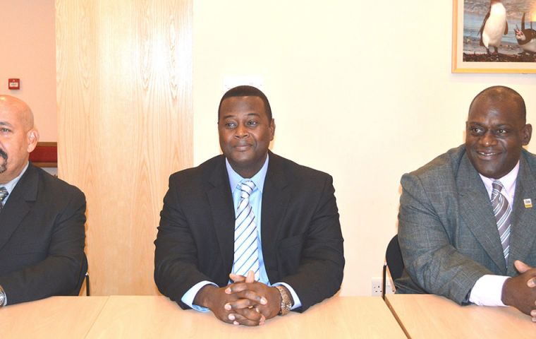 Tony Vieira, Blair Ferguson and Lance Dowrich during a presentation on manpower training in Stanley