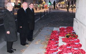 The many wreaths are finally laid at the Cenotaph by the Falkland Islands Association