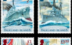 The stamps, four in total, include vivid colorful depictions of HMS Glasgow as well as an image of a sailor representative of the day.