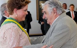 Outgoing Uruguayan president was one of the outstanding figures at the inauguration of Dilma Rousseff (Pic AFP)