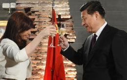 Cristina Fernandez toasting with President Xi Jinping last July when he visited Argentina as part of a Latin American tour