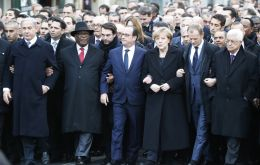 Immediately to Hollande's left, walked Merkel and to his right Mali President Ibrahim Boubacar Keita. France has provided troops to help fight Islamist rebels there.