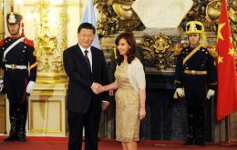 "Xi Jinping and Cristina Fernandez in Buenos Aires when the bilateral relation was upgraded to a ""comprehensive strategic association"""