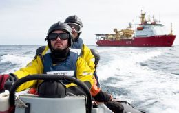 "A boarding team from the Ice Patrol heads for the pelagic factory fishing vessel, which was found to be ""clean and a professionally run vessel with a friendly crew"""