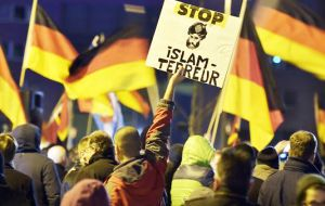 In Dresden the weekly anti-Islam rallies started last October organized by a group called the Patriotic Europeans against the Islamization of the West (Pic AP)