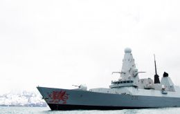 The Type 45 destroyer was on her first visit to South Georgia over Christmas