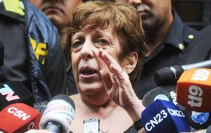 """I do not want my work to be manipulated by any political sector,"" Fein told reporters outside her office in the centre of Buenos Aires"