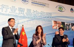 The president revealed that 102 Argentine companies and over 500 Chinese firms signed up for the business seminar.