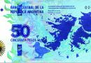 The note presents in the obverse the image of the map of the South Atlantic territories and another map of Latin America and the Caribbean