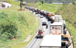 Federal highway police said the protests had spread from a few towns in Mato Grosso last week to 99 blockages across 10 of Brazil's 26 states by Wednesday.