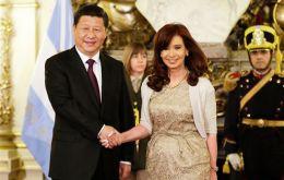 Cristina Fernandez with Xi Jinping during her recent visit to China when she signed the raft of agreements