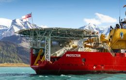 HMS Protector at anchor off Grytviken Harbour