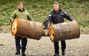 More than a ton of wreckage was collected and the team removed the barrels causing the minimum amount of disruption to hundreds of seals and penguins