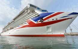 Britannia embraces a bold 94 meter Union Flag on her bow displaying the longest version of the Flag anywhere in the world