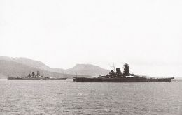Musashi and its sister vessel, Yamato, were two of the largest battleships ever built. US warplanes sank the Musashi on 24 Oct 1944 at the Battle of Leyte Gulf