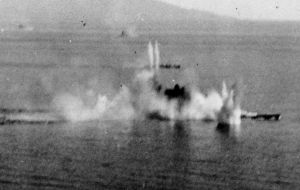 After the final attack ended in mid-afternoon, the vessel was hit by 20 torpedoes, and 17 bombs. There were 18 near-misses.